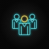 businesswoman, leader neon icon. Blue and yellow neon vector icon. Transparent background
