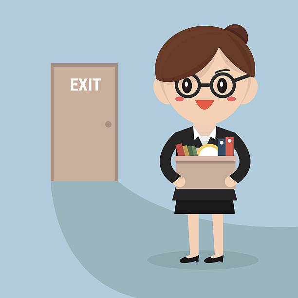 Royalty free quitting a job clip art vector images businesswoman leaving job vector vector art illustration sciox Image collections