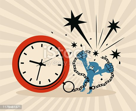 Blue Little Guy Characters Full Length Vector Art Illustration. Businesswoman locked in a big clock and chain is pulling apart the chain.