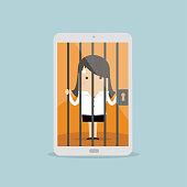 Businesswoman locked in smartphone.