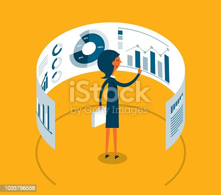 Businesswoman working with modern virtual technology