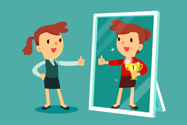 geschäftsfrau Blick auf Spiegeln und sich vorstellen, selbst erfolgreiche – Vektorgrafik