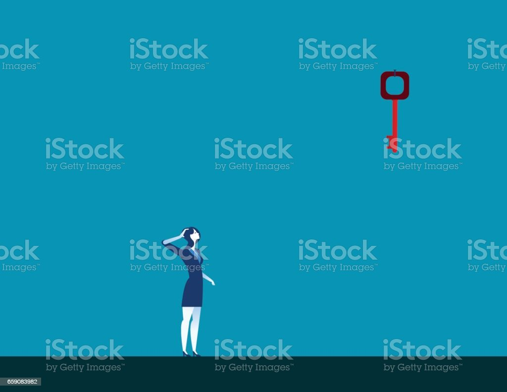 Businesswoman looking up at key high up in wall. Concept business illustration. Vector – Vektorgrafik