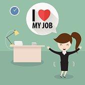 Businesswoman love her job,Vector EPS10.