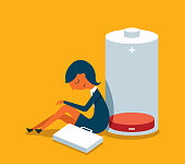 businesswoman with low energy battery stock illustration