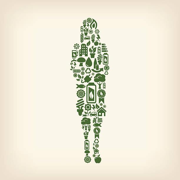 geschäftsfrau aus ökologie-symbole auf beige hintergrund - kabelskulpturen stock-grafiken, -clipart, -cartoons und -symbole