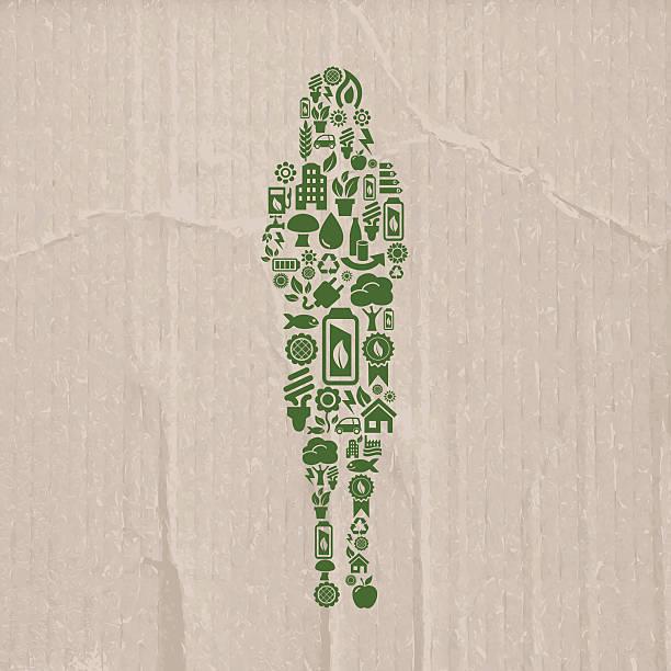 geschäftsfrau aus ökologie-symbole auf karton hintergrund - kabelskulpturen stock-grafiken, -clipart, -cartoons und -symbole