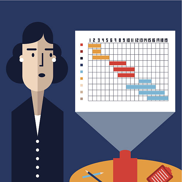 Businesswoman makes a Gantt Chart presentation The best way to show a project's schedule? A Gantt Chart of course! gantt chart stock illustrations