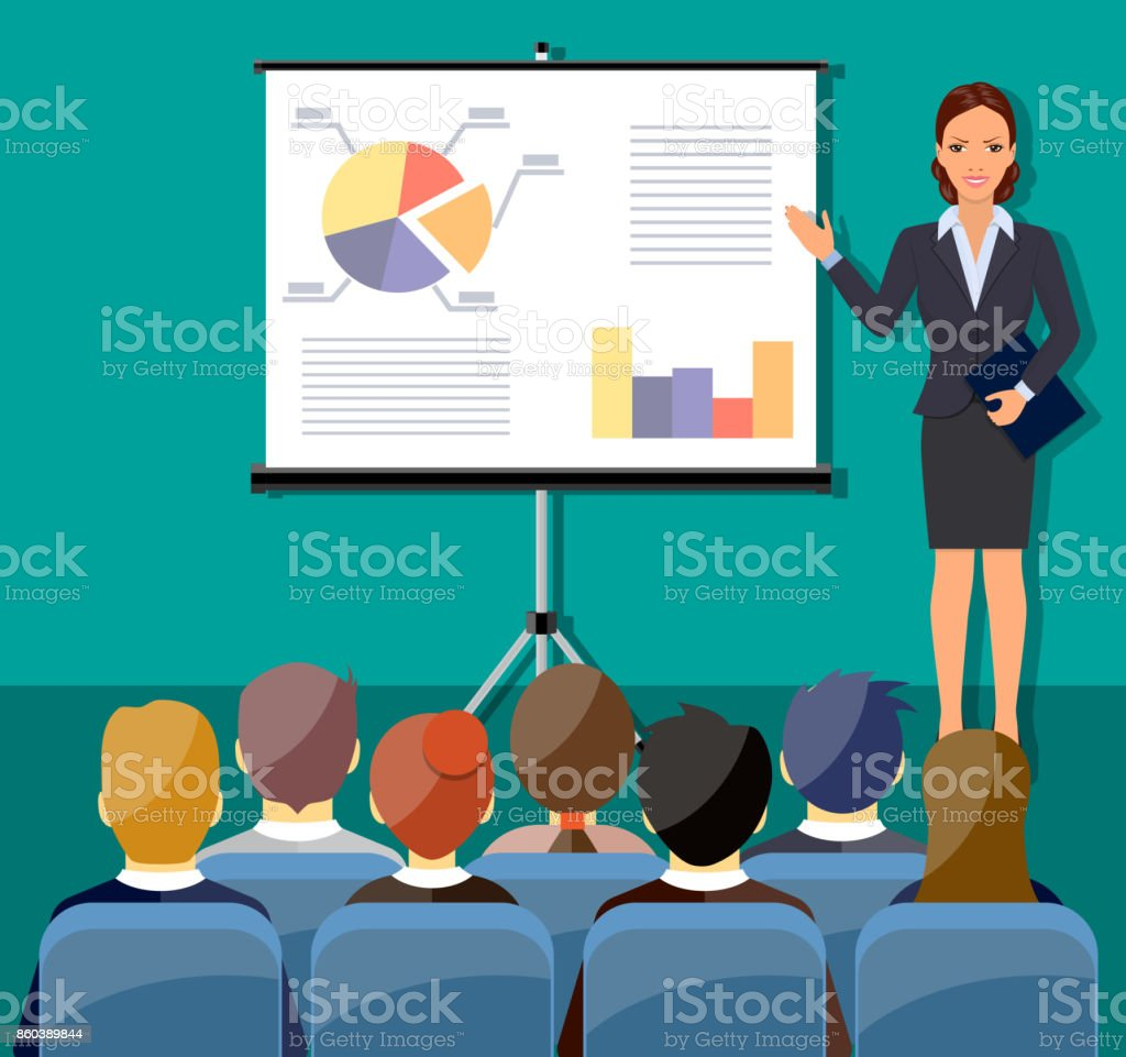 Businesswoman making presentation vector art illustration