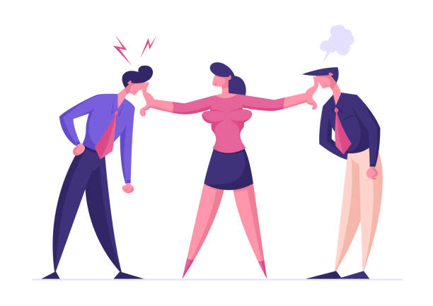 Businesswoman Mediator Trying to Stop Arguing Businessmen. Disagreement, Men Prepare to Fight. Business Competition for Leadership, Challenge Different Point of View. Cartoon Flat Vector Illustration Businesswoman Mediator Trying to Stop Arguing Businessmen. Disagreement, Men Prepare to Fight. Business Competition for Leadership, Challenge Different Point of View. Cartoon Flat Vector Illustration human arm stock illustrations