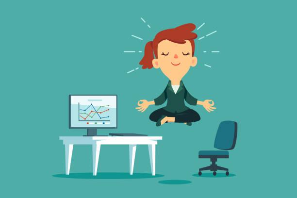 Geschäftsfrau meditiert am Büroschalter – Vektorgrafik