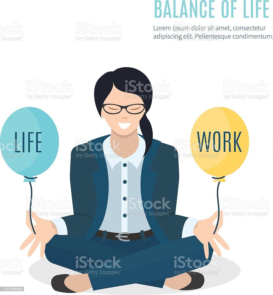 Businesswoman meditating vector art illustration