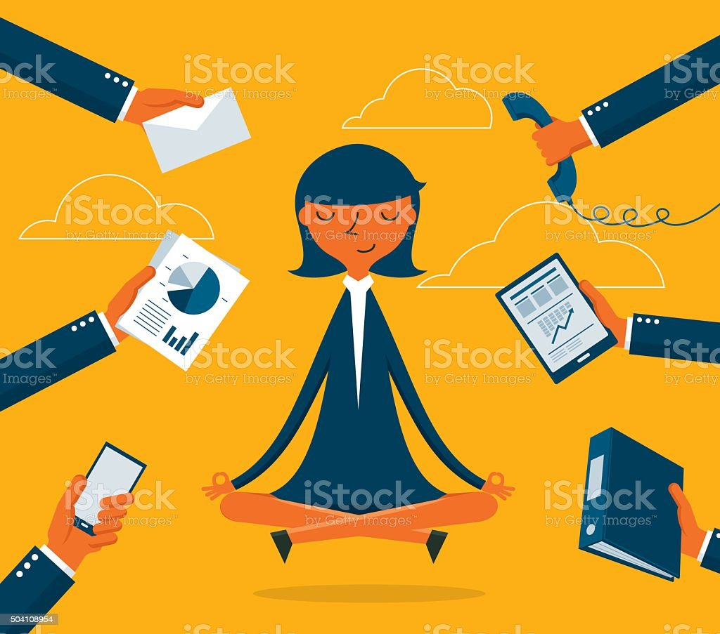 Businesswoman Meditation vector art illustration