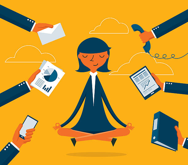 Businesswoman Meditation Businesswoman Meditation tranquil scene stock illustrations