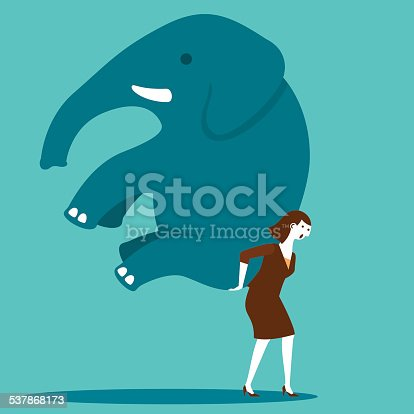 Businesswoman Moving An Elephant With Determination | New Business Concept