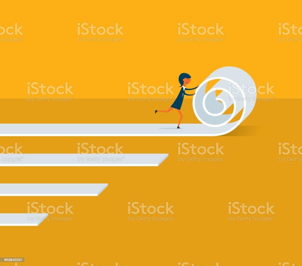 Businesswoman moving business forward vector art illustration