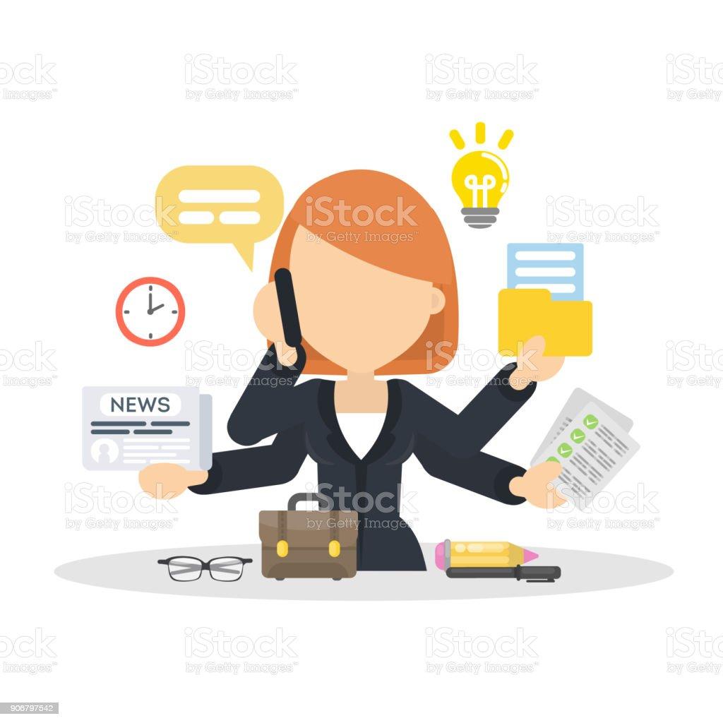 Businesswoman multitasking at work place. vector art illustration