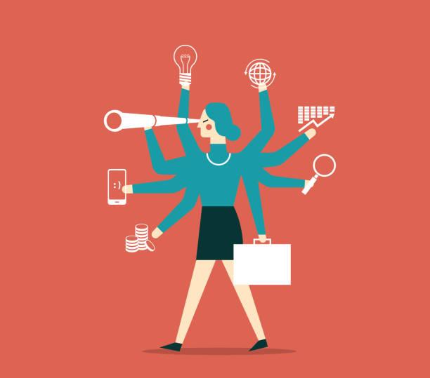ilustrações, clipart, desenhos animados e ícones de empresária multitarefa com vários braços - entrepreneurship