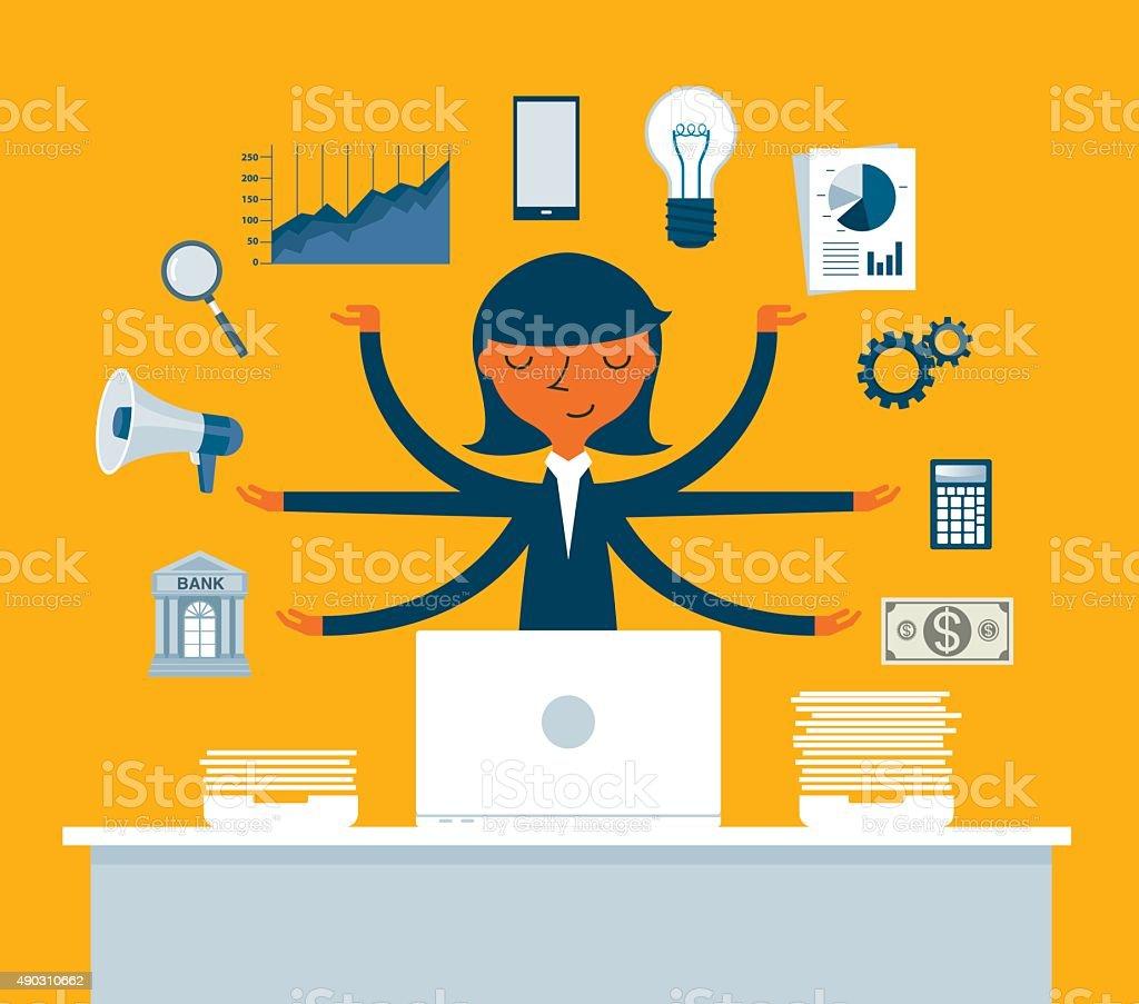 Empresária multitarefa com vários braços - ilustração de arte em vetor