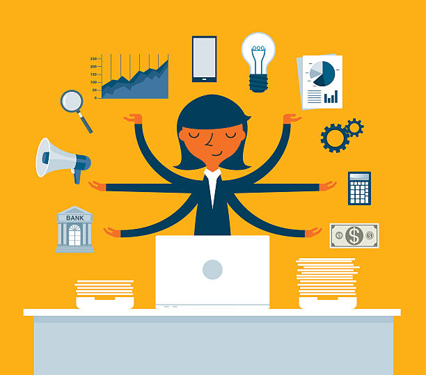 businesswoman multitasking with multiple arms - supervisor stock illustrations, clip art, cartoons, & icons