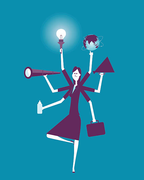 businesswoman multitasking with multiple arms - small business owner stock illustrations