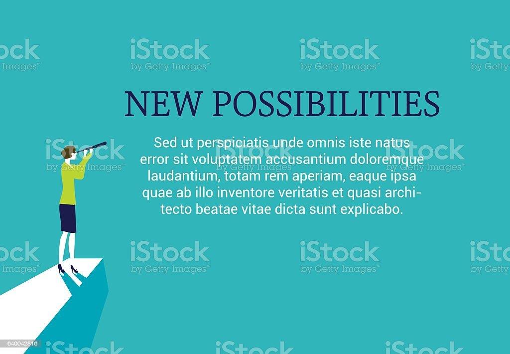 Businesswoman new possibilities vector art illustration