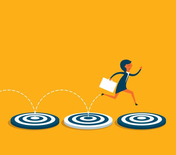 Geschäftsfrau-nächstes Ziel – Vektorgrafik