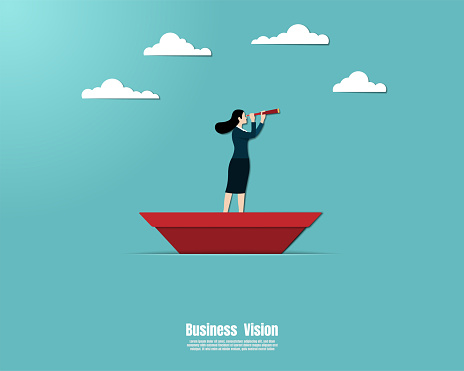 Businesswoman on a paper ship in sea