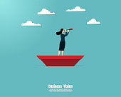 Businesswoman on a paper ship in sea, Employee on a paper boat used telescope looking to success goal, Business concept, Vector illustration