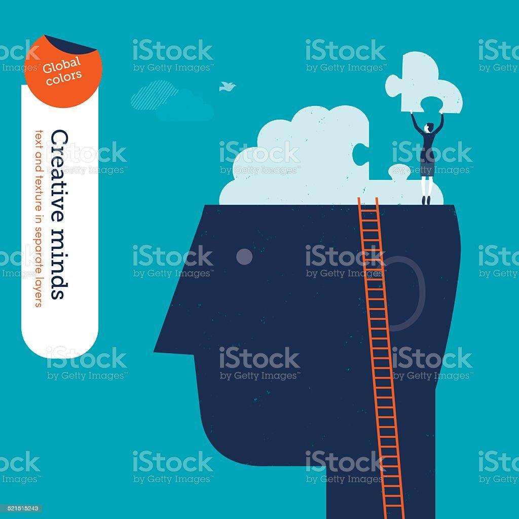 Businesswoman on head with brain puzzle vector art illustration