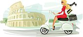 Illustration of a businesswoman riding a scooter past Colosseum. Woman, scooter, Colosseum and background are grouped layered separately.