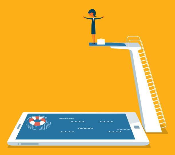 ilustrações de stock, clip art, desenhos animados e ícones de businesswoman on springboard - jump pool, swimmer