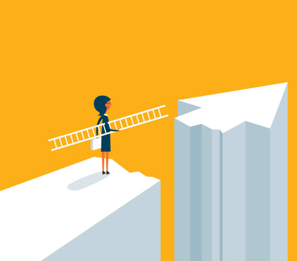 Businesswoman on standing between chasm and success Businesswoman made decisions crisis stock illustrations
