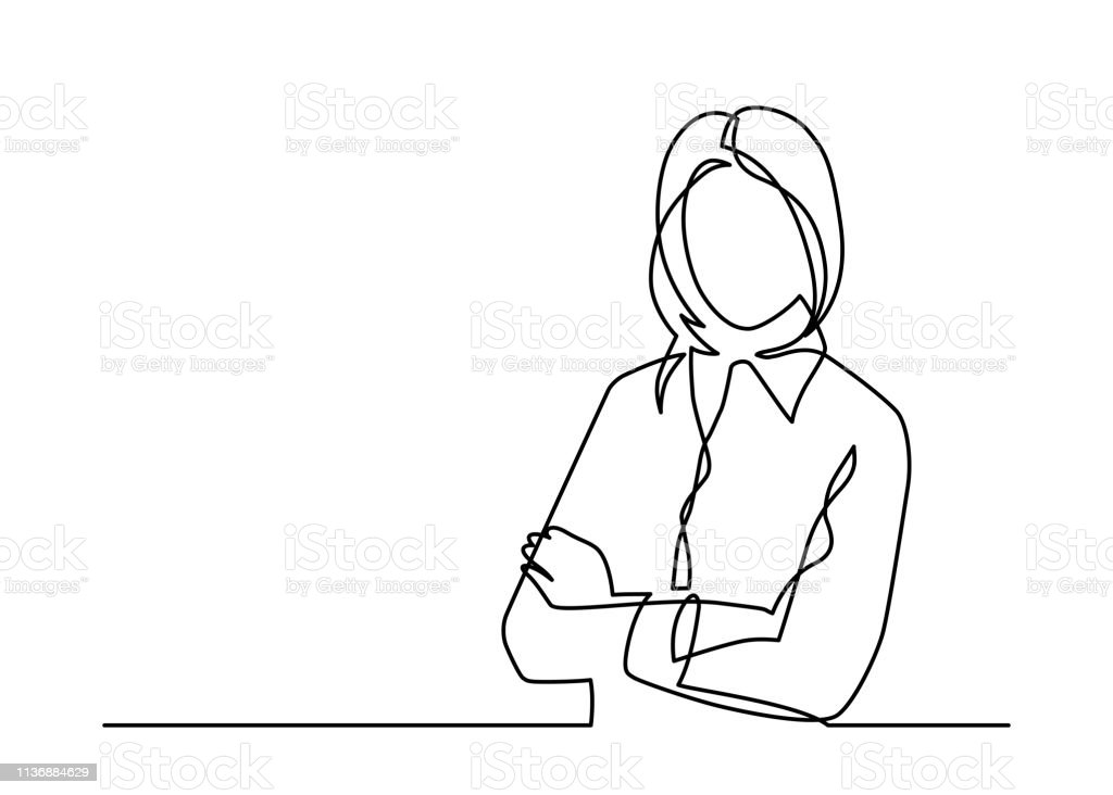 businesswoman one line royalty-free businesswoman one line stock illustration - download image now