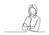 Business woman with crossed arms - continuous line drawing. Vector illustration