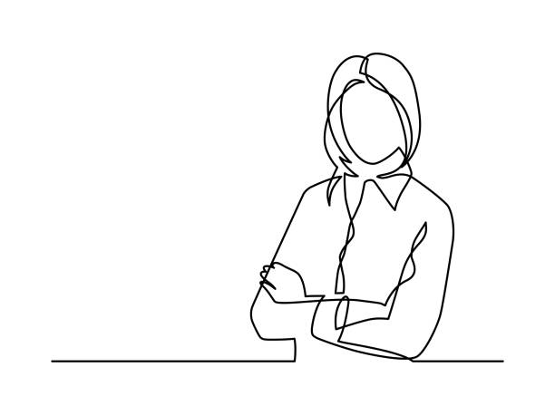 geschäftsfrau eine linie - frau stock-grafiken, -clipart, -cartoons und -symbole
