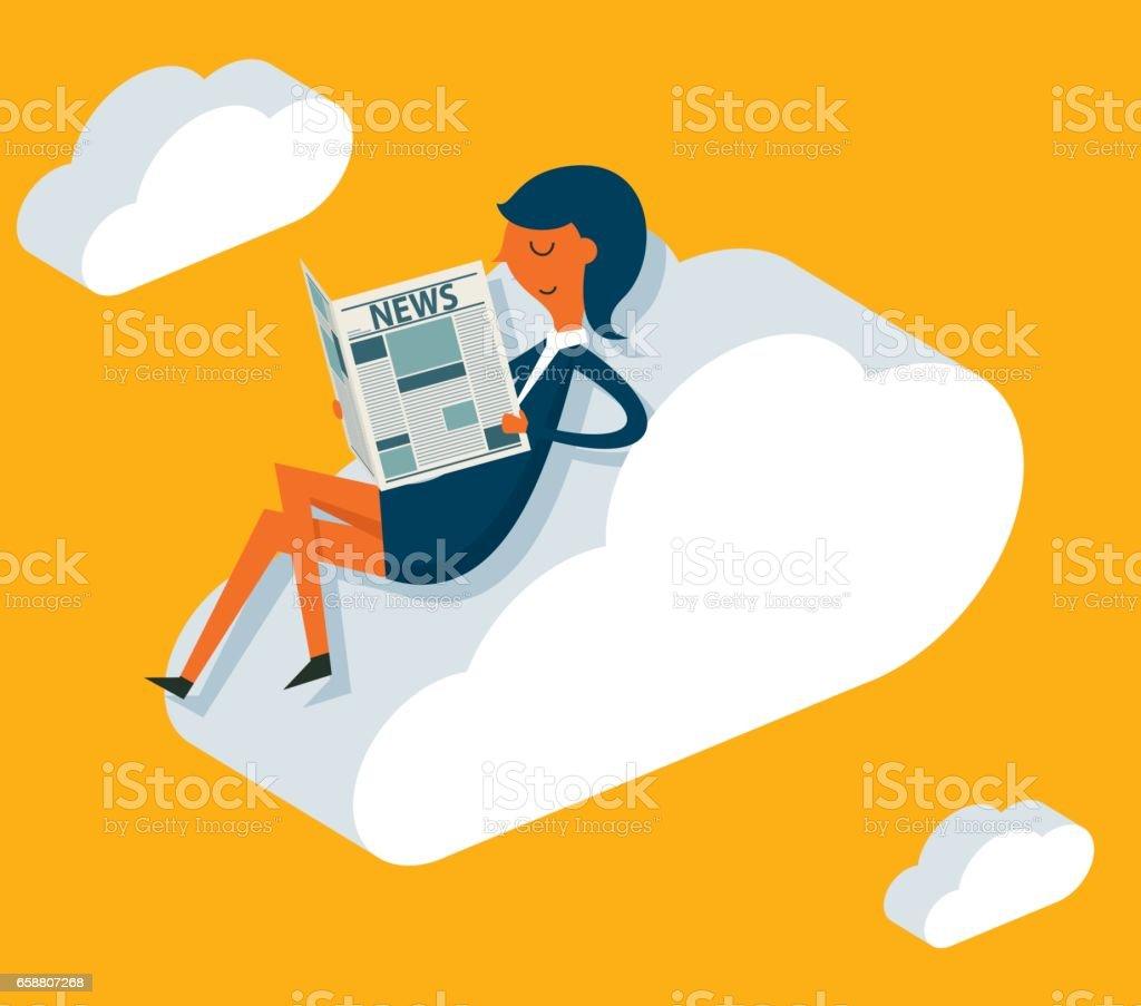 Businesswoman online reading news vector art illustration