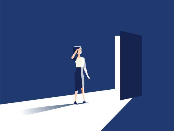 illustrazioni stock, clip art, cartoni animati e icone di tendenza di businesswoman opening door vector concept. symbol of new career, opportunities, business ventures and challenges - opportunità