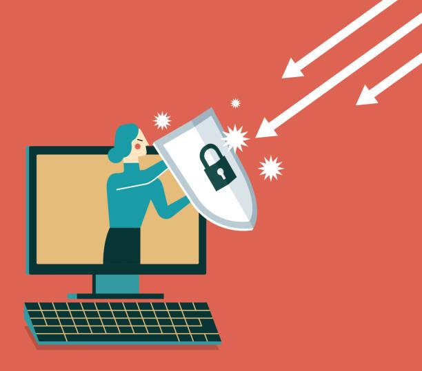 geschäftsfrau, von einem computer mit einem schild - abwehr stock-grafiken, -clipart, -cartoons und -symbole