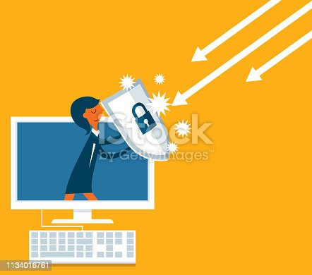 Businesswoman out from a computer with a shield - Business concept vector