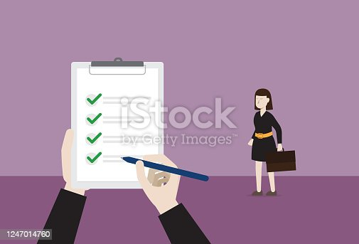 istock Businesswoman pass a job interview 1247014760