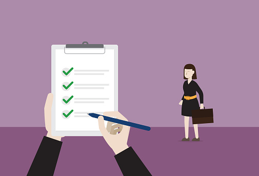 Businesswoman pass a job interview