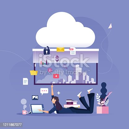 istock Businesswoman places data to protected cloud data storage-Business technology concept 1211867077