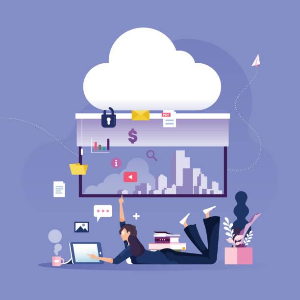 businesswoman platziert daten an geschützte cloud-datenspeicherung-business-technologie-konzept - tablet mit displayinhalt stock-grafiken, -clipart, -cartoons und -symbole