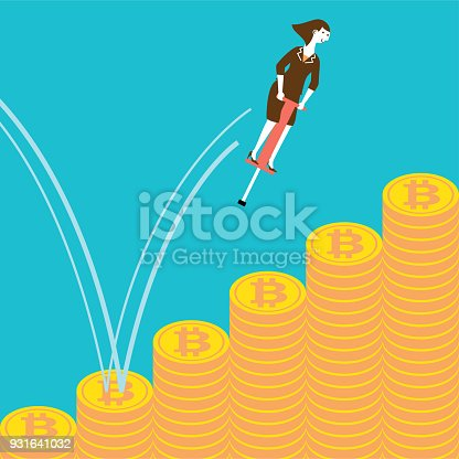 Vector concept illustration of a businesswoman jumping on bitcoins with pogo stick.