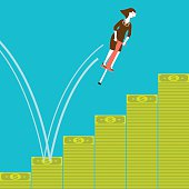Businesswoman Pogostick Jumping on Banknotes | New Business Concept