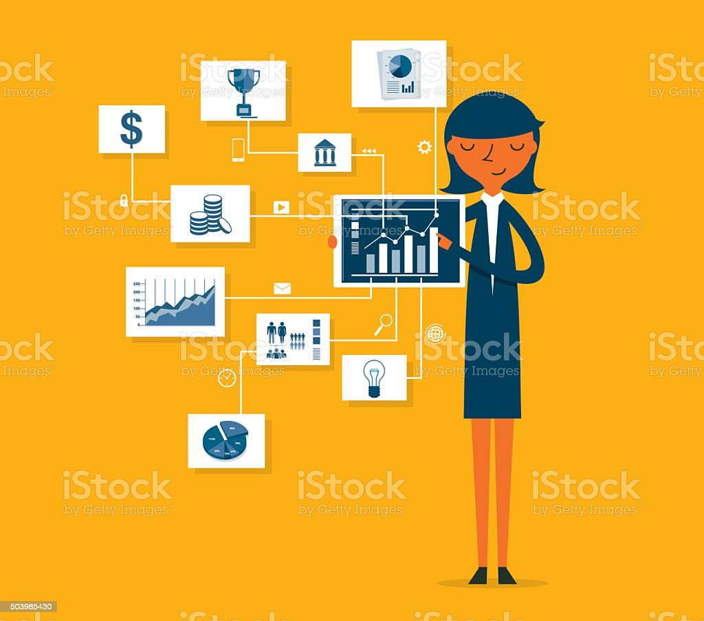 Businesswoman pointing at chart and presentation vector art illustration