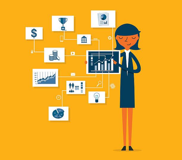 bildbanksillustrationer, clip art samt tecknat material och ikoner med businesswoman pointing at chart and presentation - kvinna tillfreds
