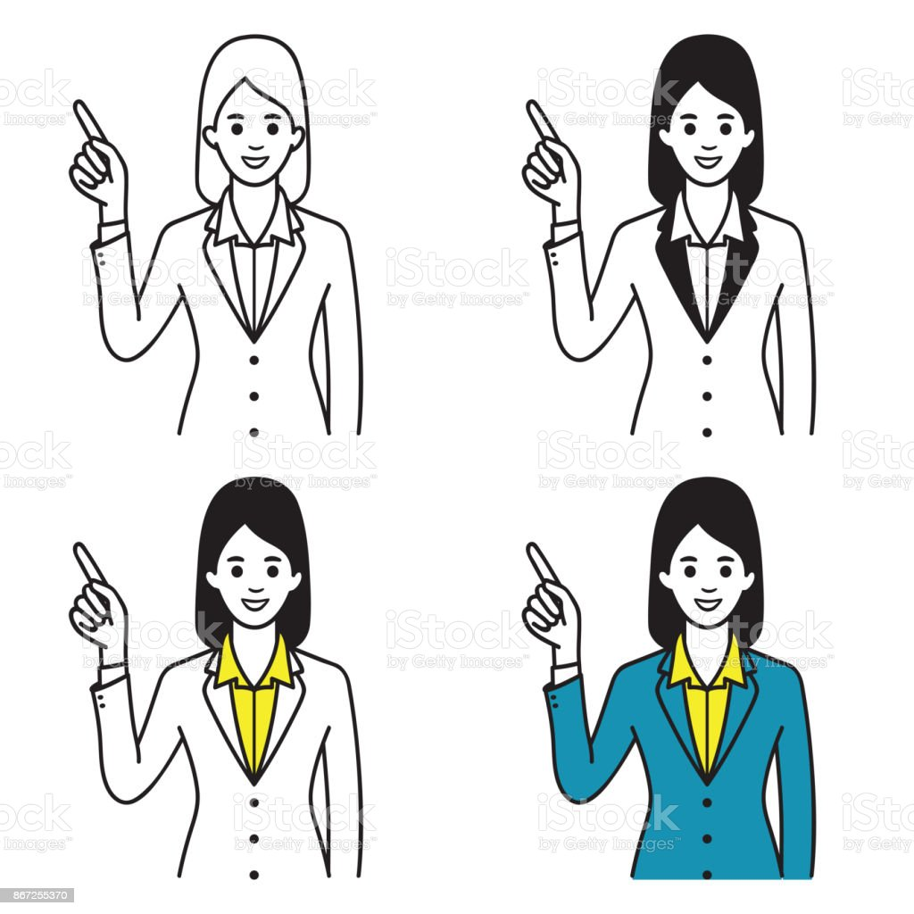 Businesswoman pointing up vector art illustration