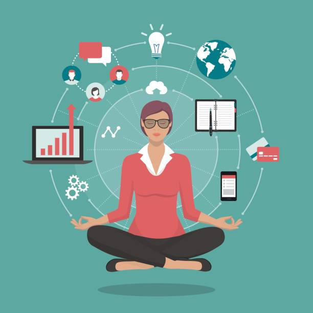 Businesswoman practicing meditation Businesswoman practicing mindfulness meditation, she is clearing her mind, releasing stressful toughts and expressing her potential; yoga and self consciousness concept practicing stock illustrations